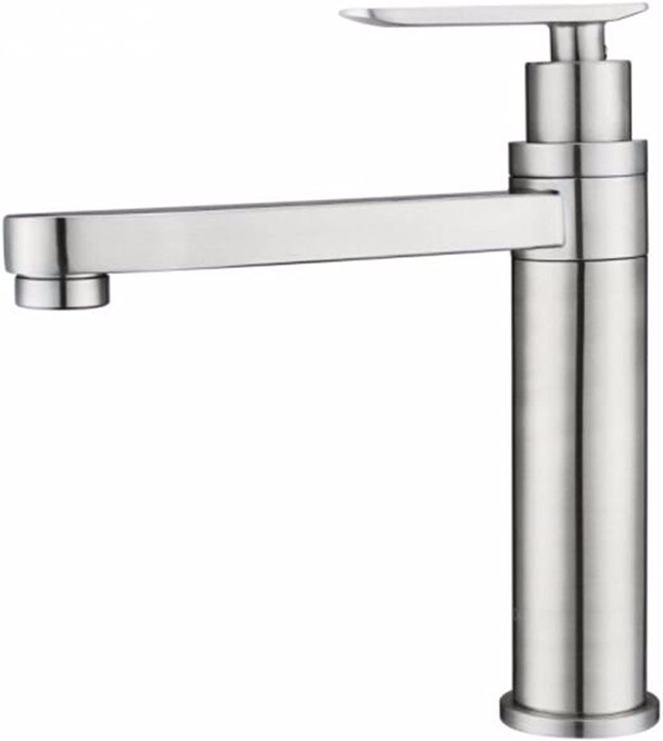 Hlluya Sink Mixer Tap Kitchen Faucet 304 stainless steel water faucet single cold water faucet bathroom vanity area with a sink faucet hand wash basin faucet single handle single hole Faucet