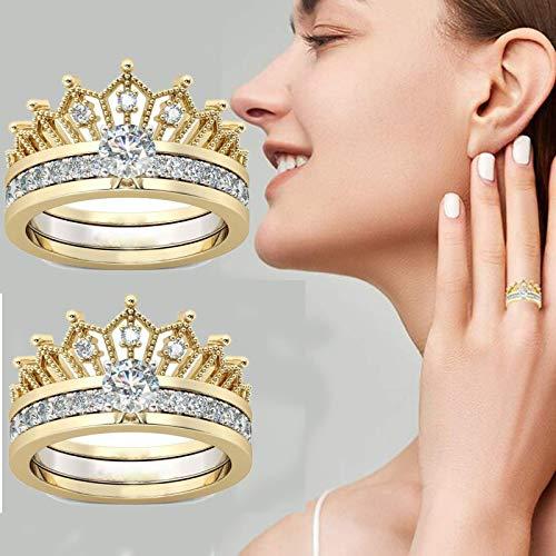 Anillo de sonido de corona de corte redondo 2 en 1,joyería Diseño de tiara de corona de corazón de princesa,Juegos de anillos ajustables de cristal,Anillos de boda de corona (2PCS, 8#)