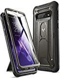 YOUMAKER Case for Galaxy S10, Built-in Screen Protector Work with Fingerprint ID Kickstand Full Body Heavy Duty Protection Shockproof Cover for Samsung Galaxy S10 6.1 inch (2019) - Gun Metal/Black