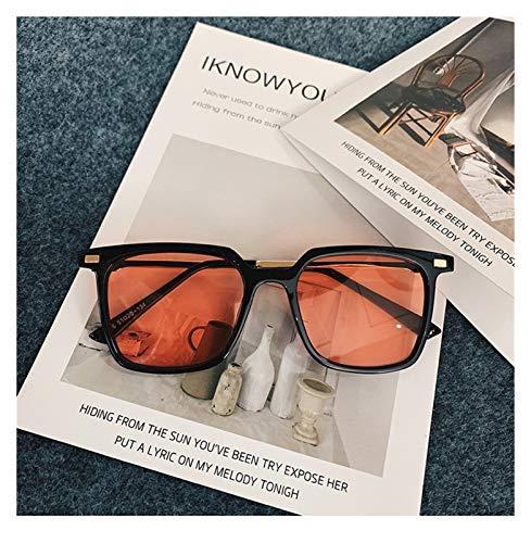 SSN Versión Coreana De Las Gafas De Sol Sencillas De Marco Cuadradas Simples Simples De La Cara Pequeña Harajuku Color Translúcido Retro Gafas De Sol Polarizadas (Color : D)