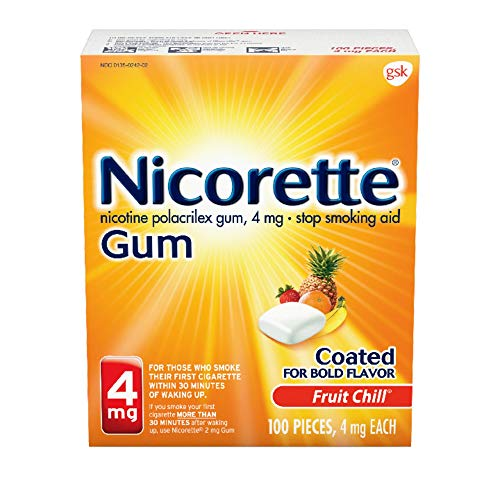 Nicorette 4 mg Nicotine Gum to Quit Smoking - Fruit Chill Flavored Stop Smoking Aid, 100 Count