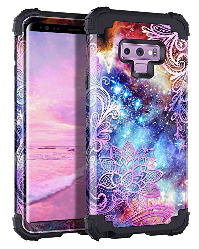 Casetego Compatible Galaxy Note 9 Case,Floral Three Layer Heavy Duty Hybrid Sturdy Shockproof Full Body Protective Cover Case for Samsung Galaxy Note 9,Purple Mandala