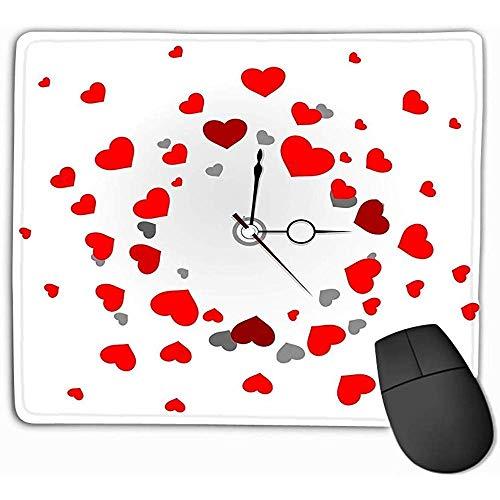 Extra groot toetsenbord muismat, muismat mooie mooie klok grijze achtergrond grappige rode harten tekenen rechthoek rubber muismat 25X30Cm