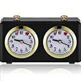 Chess Clock Mechanical Chess Timer Clock Wind-Up Mechanical Chess Clock with Large Easy-to-Read Dials Black Plastic Timer for Tournament Board Game Count Up Down, No Battery Required