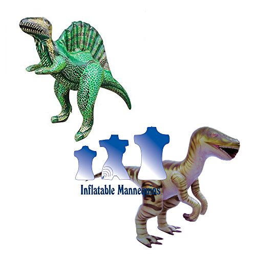Inflatable Raptor and Spinosaurus, 2 Pack