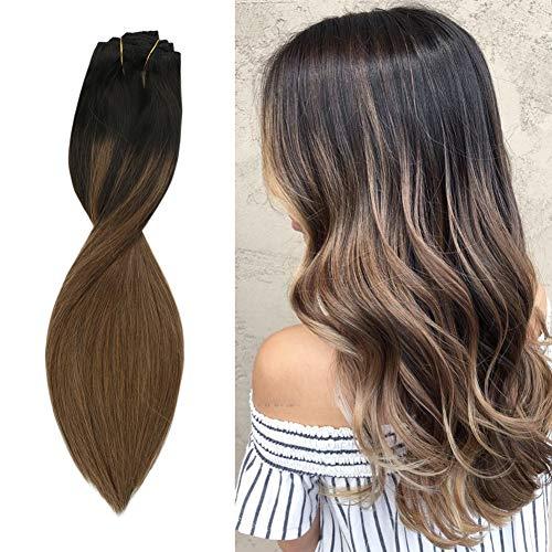Sunny Hair Clip Extension Cheveux 100% Vrai Naturel Humain Extension a Clip Naturel Double Trame Tête Pleine Balayage Noir Naturel Ombre Brun Moyen (#1B/6) 18 Pouces 7pcs/120g