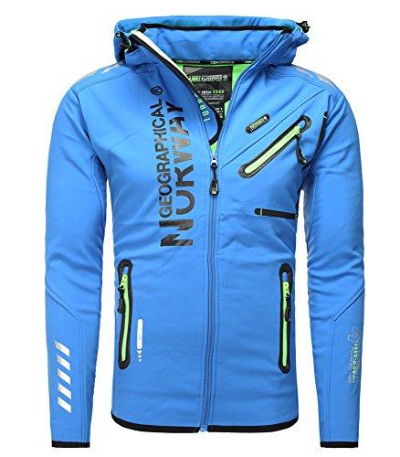 Geographical Norway- Giacca da sci in softshell, antipioggia, adatta per lo sport, da uomo Blu s