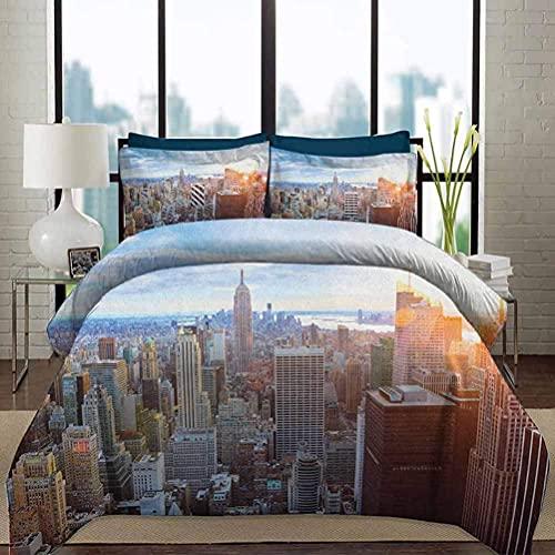 HARXISE Ropa de Cama Juego de Funda nórdica Funda de edredón liviano Puesta de Sol en la Isla de Manhattan Centro de Brooklyn Distrito financiero Rascacielos Juego de Cama Decorativo de 3 Piezas