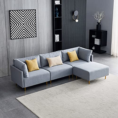 Comfortable Linen Sectional Sofa, L-Shape, 276cm -Gray