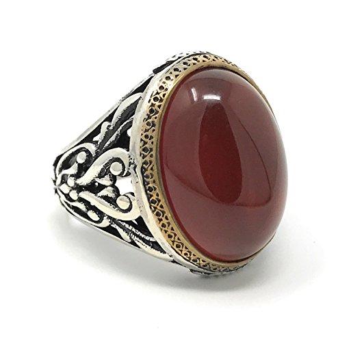 KAR 925K Stamped Sterling Silver Filigree Red Agate (Aqeeq) Men