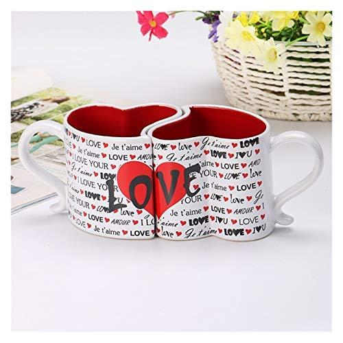 XINGYAO Tasse à Boire 2pcs / Set 300ml Creative Ceramic Couple Couple Coupes Love Hearts Shape Couple Couple Couple Couple Coupe de Café pour Petite Amie Cadeaux d'anniversaire décoration