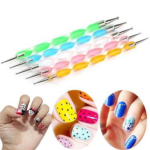 CAOLATOR 5 Pcs Punta de Lápiz de Uñas Doble Cara Dotting Pen Tool Nail Art Tip Dot Paint Kit de Accesorios de Nail Art Rueda Manicura (Multicolor)