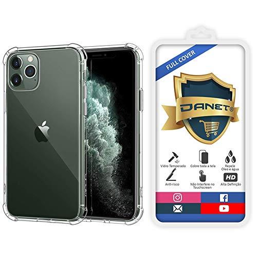 Kit Capa E Película Para iPhone 11 Pro Max Tela De 6.5Polegadas Capinha Case Transparente Air Anti Impacto e Película De Vidro Temperado 3d - Danet