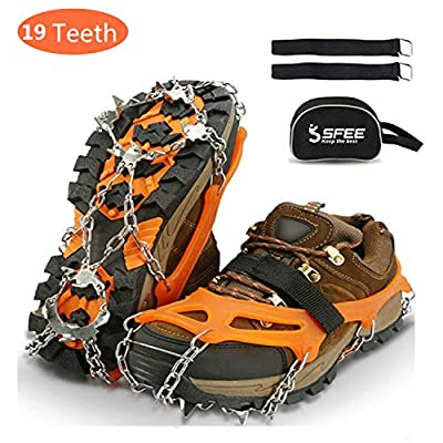 Sfee Ice Snow Grips Crampons Traction Cleats Spikes 19 Spikes for Women Men,Anti Slip Stainless Steel Chain Flexible Footwear for Walking Climbing Hiking Fishing Outdoor(Orange,M(US:5-8))