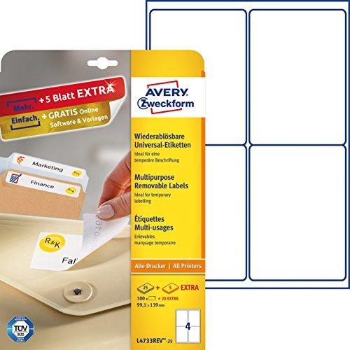 AVERY Zweckform L4733REV-25 Universal Etiketten (100 plus 20 Klebeetiketten extra, 99,1x139mm auf A4, wieder rückstandsfrei ablösbar/abziehbar, bedruckbar, selbstklebende Aufkleber) 30 Blatt, weiß