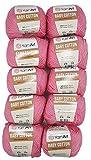YarnArt Baby Cotton - Ovillo de lana para tejer (50% algodón, 500 g), color rosa 414