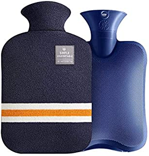 OliviaLiving Hot Water Bag Hot Water Bottle 1 Liter Heat Up and Refreezable Hot Cold Pack with Classic Striped for Pain Re...