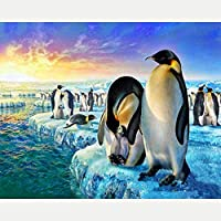 ダイヤモンド塗装キット、ペンギン動物、大人の子供のための5Dダイヤモンド絵画アート、家の壁の装飾のためのキャンバスパターンクロスステッチ刺繡工芸品40X50CM