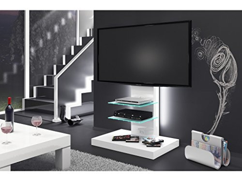 Meuble TV Design LED - Blanc Laque