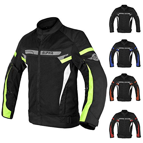 ALPHA CYCLE GEAR BREATHABLE BIKERS RIDING PROTECTION MOTORCYCLE JACKET MESH CE ARMORED (GREEN LANE, XXXX-LARGE)