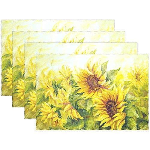 Tischsets Aquarell Blumen Blume Sonnenblume Teller Matten Waschbar Stoff Hitzebeständige Tisch Tischsets Für Küche Esszimmer Set Von 6 [45X30 Cm]