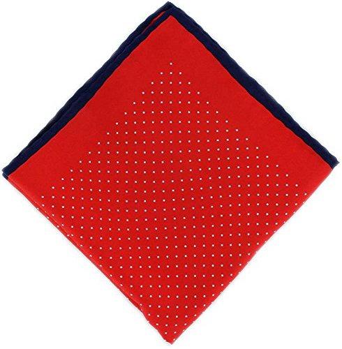 Michelsons of London Rouge/Marine Pin Dot avec mouchoir Border Soie de