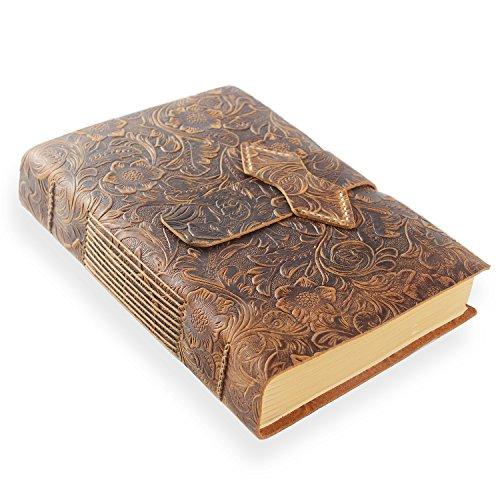 ScrodCat Ledertagebuch, A5-Notizbuch, antik, handgefertigt, ledergebunden, für tägliche Notizen, mit Blanko-Seiten, 20 x 15 cm, ideales Geschenk, Reisetagebuch (Brown, A5/20x15cm)