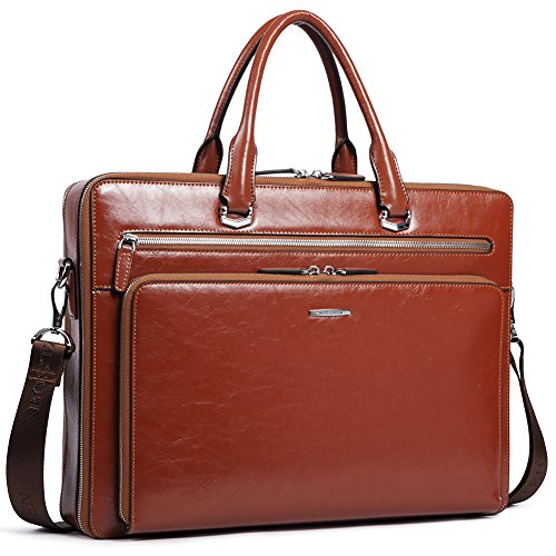 "BOSTANTEN Leather Briefcase Shoulder 15.6 ""Laptop Business Vintage Slim Messenger Bags for Men & Women Brown"