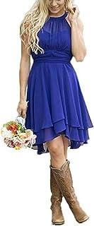فساتين Elley Halter لإشبينة العروس قصيرة من الشيفون فساتين الحفلات الرسمية وحفلات العودة للوطن