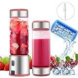 Blender Portable Mixeur Multifonction 450ml 2 Couvercles USB Rechargeable 5100mAh Verre Éléctrique Mixeur 6 INOX Lames pour Fruit, Légume, Millkshake Smoothie, Certifié BPA/FDA, Rose