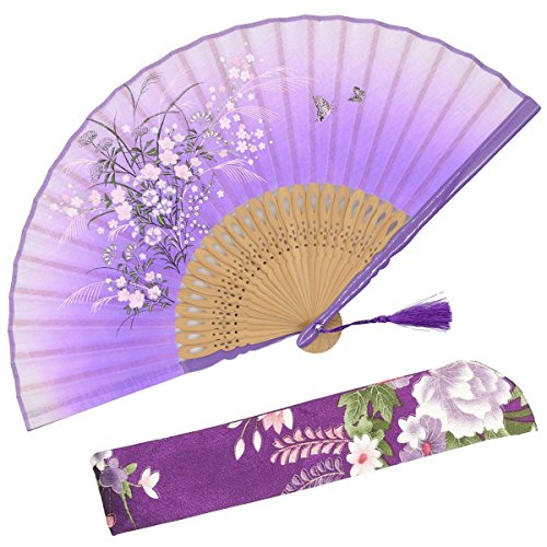 OMyTea Grassflowers 8.27(21cm) Hand Held Folding Fans - with a Fabric Sleeve for Protection for Gifts - Chinese/Japanese Vintage Retro Style (Purple)