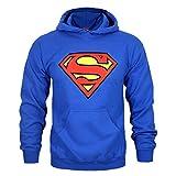 Superman - Sudadera con capucho y Escudo para Hombre (XL) (Azul)