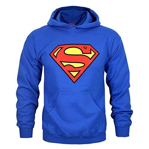 Superman - Sudadera con capucho y Escudo para Hombre (2XL) (Azul)