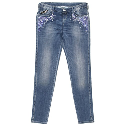 Take Two, Courtney, Damen Damen Jeans Hose Stretchdenim Blue Used Pailletten W 30 L 32 [20364]