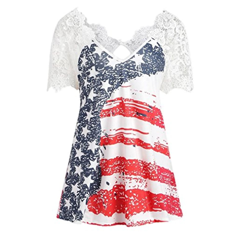 Women's Short Sleeve USA American Flag Irregular Hem Loose Tunic Shirt Dress Top