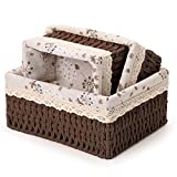 Wicker Baskets Set,3 Pcs Handmade Woven Basket Storage Bins with Removable Liner,Sturdy Decorative Basket for Home,Bathroom,Kitchen,Bedroom Using, Soft Shelf Baskets to Makeup, Sewing Items Organizing