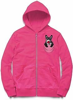 Fox Republic ブルドッグ 日の丸 日本国旗 ポケット 犬 ピンク キッズ パーカー シッパー スウェット トレーナー 130cm