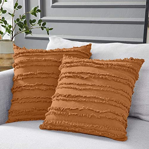 Best Longhui bedding Burnt Orange Throw Pillow Covers for Couch Sofa Bed, Cotton Linen Decorative Pillows