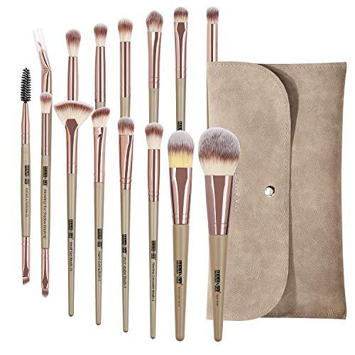MAANGE Pinceaux maquillages professionnel15 pièces Kit de pinceaux maquillage avec trousse de maquillage, Pinceaux de maquillage Pinceau de fond de teint synthétique haut de gamme