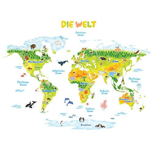 DECOWALL DMT-1715SDE Weltkarte Tierweltkarte Tiere Wandtattoo Wandsticker Wandaufkleber Wanddeko für Wohnzimmer Schlafzimmer Kinderzimmer (Groß) (Deutsche Ver.)