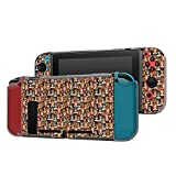 Dockable Case Compatible with Nintendo Switch Console and Joy-Con Controller, Patterned ( Fashion Girls in Sunglasses Doodle ) Protective Case Cover with Tempered Glass Screen