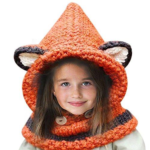 Demarkt Niedlich Kinder Wintermütze Mütze Kapuzenschal Kindhut Fuchs Handgestrickt Kindmütze Kapuze Schal Mützen Hüte (Orange)