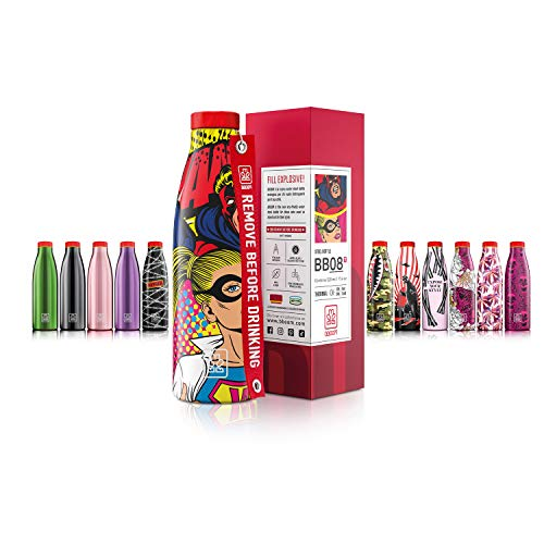 Bboom Bottiglie Acciaio Inossidabile Senza BPA   Borraccia Termica Isolamento sottovuoto Doppia Parete   500 ml (Supereroi Fumetti)