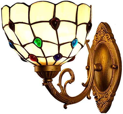 miwaimao Minimalism Art - Lámpara de pared estilo Tiffany hecha a mano con lámpara de pared con fuente de luz E27 para balcón, bar, restaurante, decoración de baño