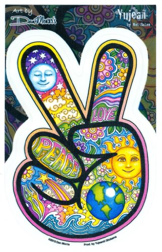 """Dan Morris - Peace Sign Hand Beautiful Celestial Imagery Sticker Decal - 4"""" x 6"""" - Weather Resistant, Long Lasting for Any Surface"""