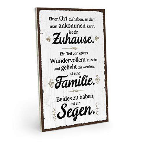 ARTFAVES Holzschild mit Spruch - ZUHAUSE Familie SEGEN - Vintage Shabby Deko-Wandbild/Türschild