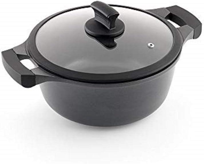 Metaltex XPERT-Cacerola Alta Aluminio Fundido, 20 cm, Antiadherente ILAG 3 Capas, Full Induction válido para Todo Tipo de cocinas, Negro
