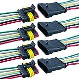 QitinDasen 4 Kit Profesional 6 Pin Coche Impermeable Cable Eléctrico Conector, Coche Impermeable Rápido Enchufe Terminal, con Cable Eléctrico, para Coche Moto Camión Barcos