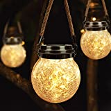Lampade solari sospese, Lanterna Solare di vetro con 30 LED, Luci Solari Impermeabile IP65, lanterne da esterno per giardino, festa, cortile, albero o prato (bianco caldo)
