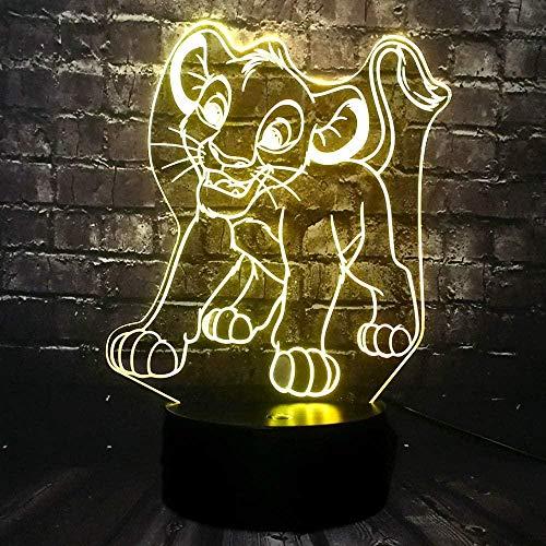 Il Re Leone Luce Personaggio Del Fumetto Simba Leone Lampada per Decor Kid Camera LED Night Light 7 Colore Cavo USB Cambiamento Vacanze Compleanno Natale Illuminazione Regalo
